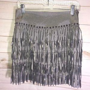 NEW Lucy Paris Dark Silver Fringe Skirt-Small